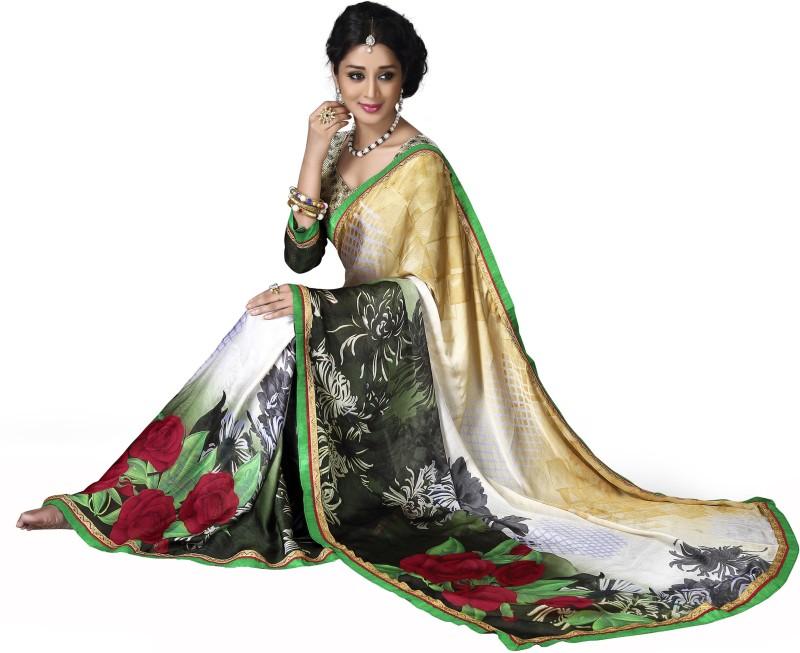 Parisha Self Design, Printed Fashion Satin Blend, Chiffon Saree(Multicolor, Gold, White)