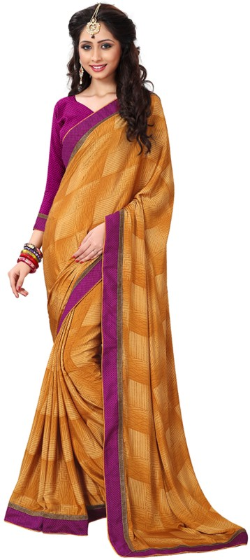 Khushali Self Design, Printed Fashion Crepe Saree(Yellow)