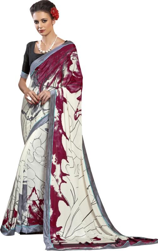 Khushali Self Design, Printed Fashion Art Silk Saree(White, Multicolor)