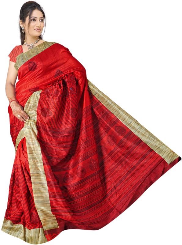 Khoobee Self Design, Printed Fashion Art Silk Saree(Red, Beige)