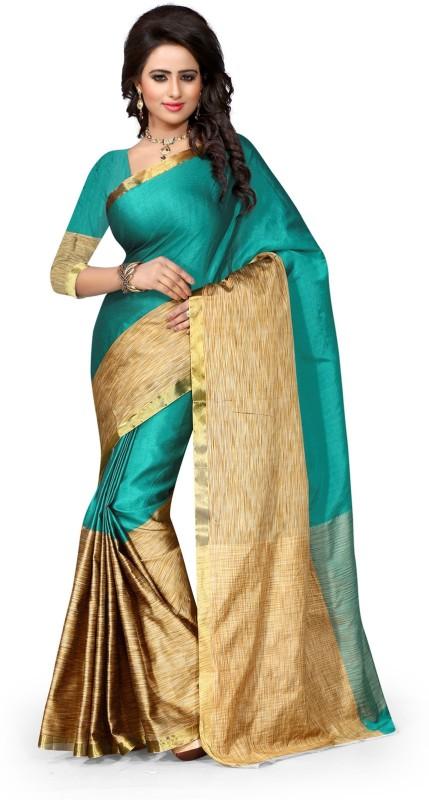 Style U Embellished Kanjivaram Handloom Art Silk, Polyester Saree(Dark Green, Beige)