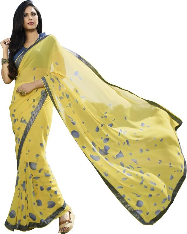 Khushali Self Design, Printed Fashion Georgette Saree(Yellow, Blue)