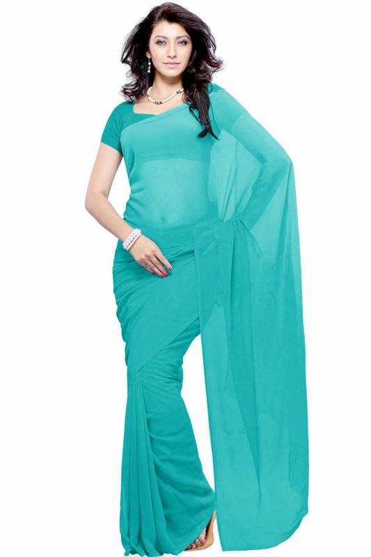 Khushali Self Design Fashion Georgette Saree(Light Blue)