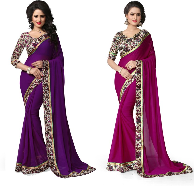 Indianbeauty Self Design, Solid, Printed Bollywood Chiffon Saree(Pack of 2, Purple, Pink)