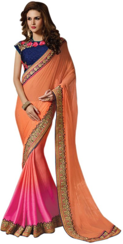 Bhavi Solid Fashion Net Saree(Orange, Pink)
