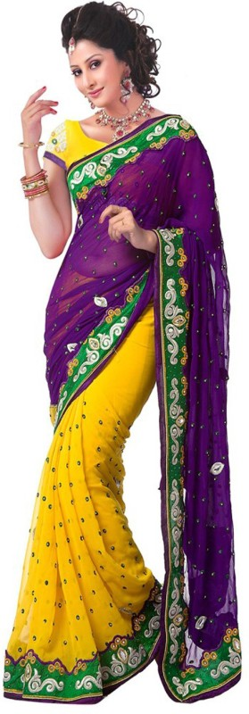 Aksh Fashion Embroidered Bollywood Georgette Saree(Yellow, Purple)