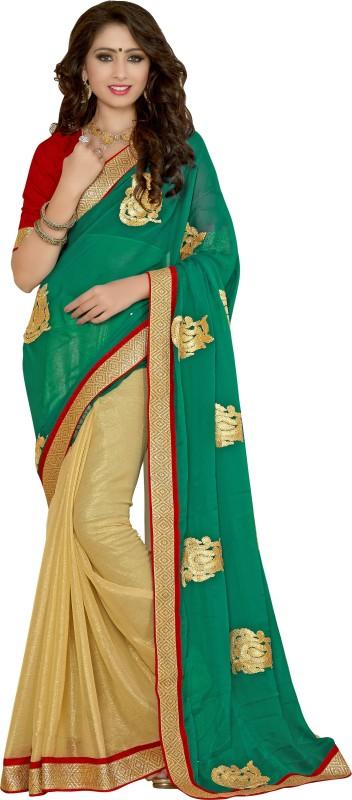 Khoobee Self Design, Embroidered Fashion Chiffon Saree(Green, Beige)