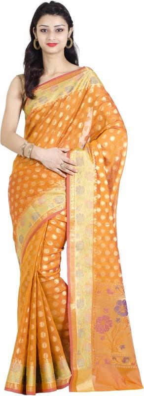 Chandrakala Polka Print Banarasi Cotton, Silk Saree(Gold)