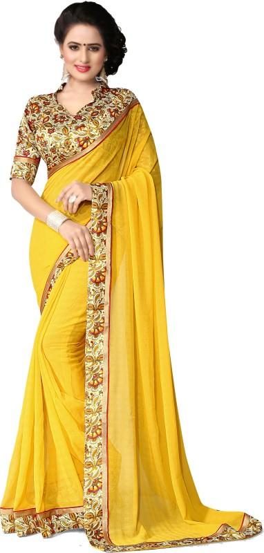 Indianbeauty Solid, Printed Bollywood Chiffon Saree(Yellow)