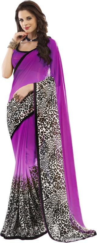 Khushali Self Design Fashion Georgette Saree(Magenta, Multicolor)