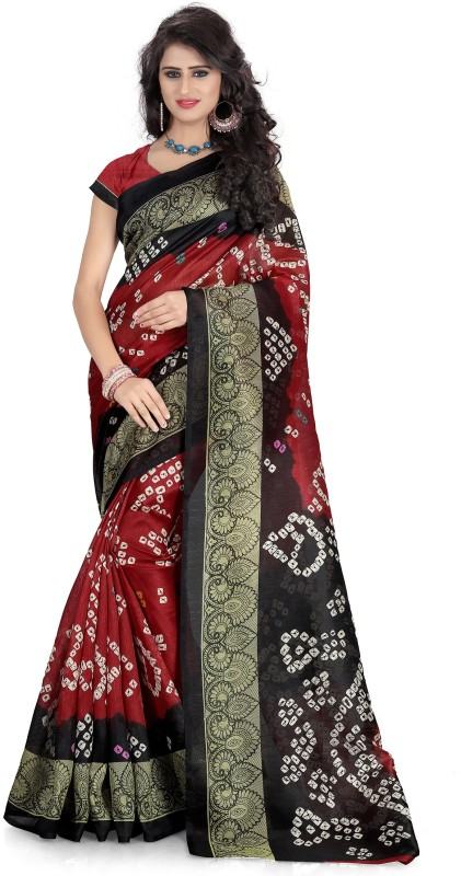 Glory Sarees Printed Bandhani Poly Art Silk Saree(Maroon, Black)
