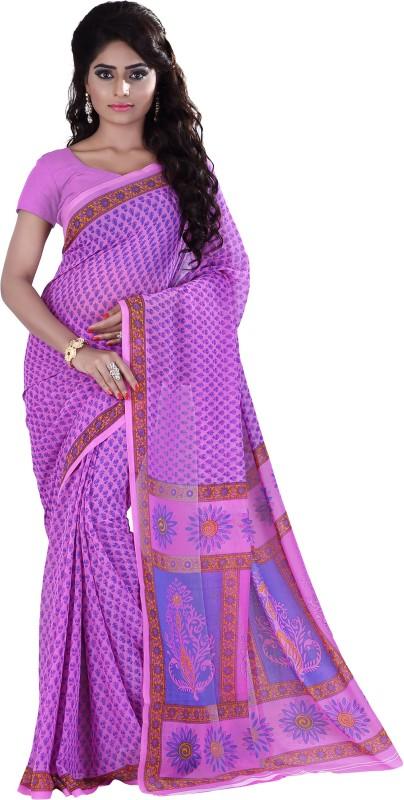 Khushali Self Design, Printed Fashion Georgette Saree(Pink, Light Blue, Purple)