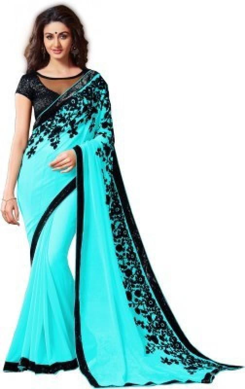 RadadiyaTRD Embroidered Bollywood Georgette Saree(Light Blue)
