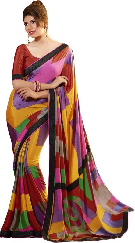 Khushali Self Design, Printed Fashion Art Silk, Crepe Saree(Multicolor)