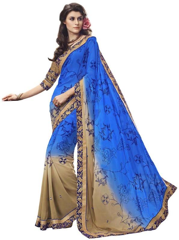 Desi Butik Self Design Fashion Georgette Saree(Blue, Beige)