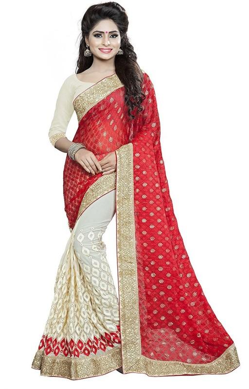 Pragati Fashion Hab Embroidered Fashion Georgette, Brasso Saree(Red, Beige)
