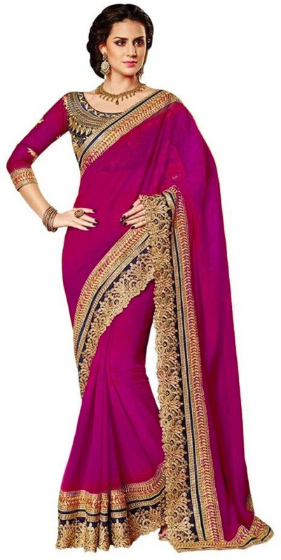 Winza Designer Self Design, Embroidered, Embellished, Solid Daily Wear Poly Georgette Saree(Pink)