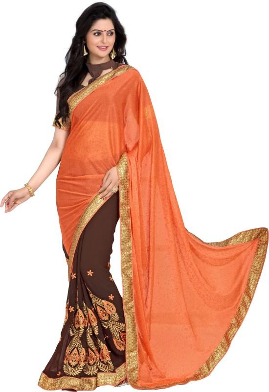 Khoobee Self Design, Embroidered, Embellished Fashion Poly Georgette, Lycra Blend Saree(Brown, Orange)