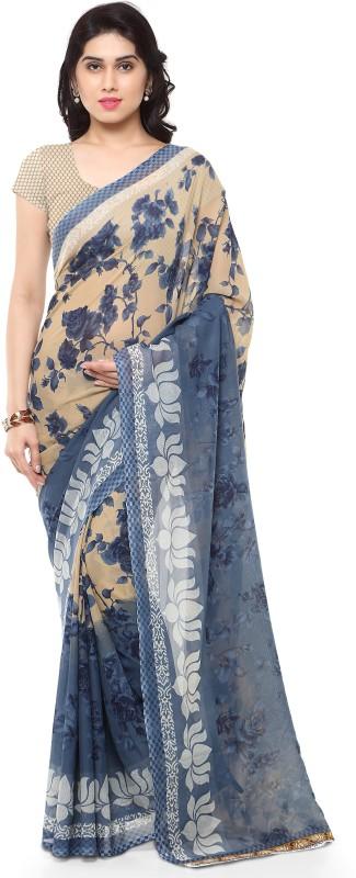 Parishi Fashion Printed Daily Wear Poly Georgette Saree(Grey)