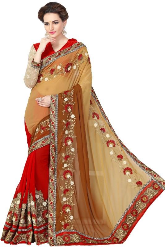 Amar Enterprise Embroidered Bollywood Georgette Saree(Maroon, Beige)