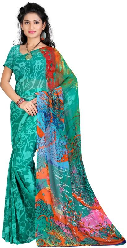 LaazreeFashion Floral Print Bollywood Georgette Saree(Light Blue)