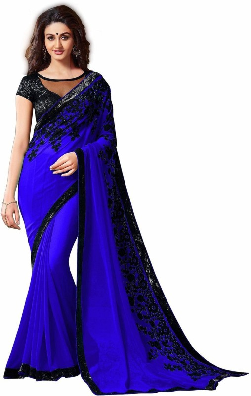 RadadiyaTRD Embroidered Fashion Georgette Saree(Blue)