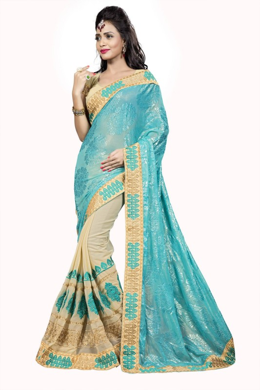 Aashvi Creation Embroidered Fashion Georgette, Brasso Saree(Multicolor)