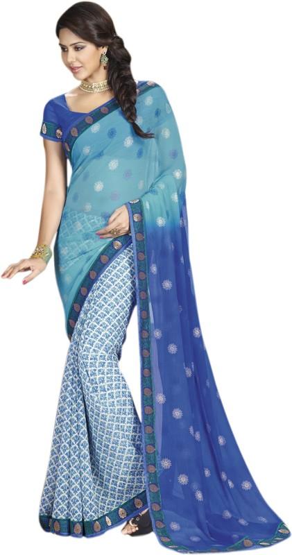 Vishal Printed Fashion Chiffon Saree(Blue)