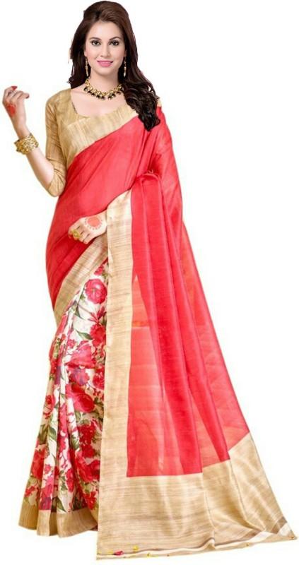 Ishin Printed Bhagalpuri Art Silk Saree(Beige)