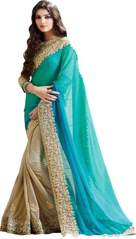Sargam Fashion Embroidered, Self Design Bollywood Georgette Saree(Light Blue, Light Green, Beige)