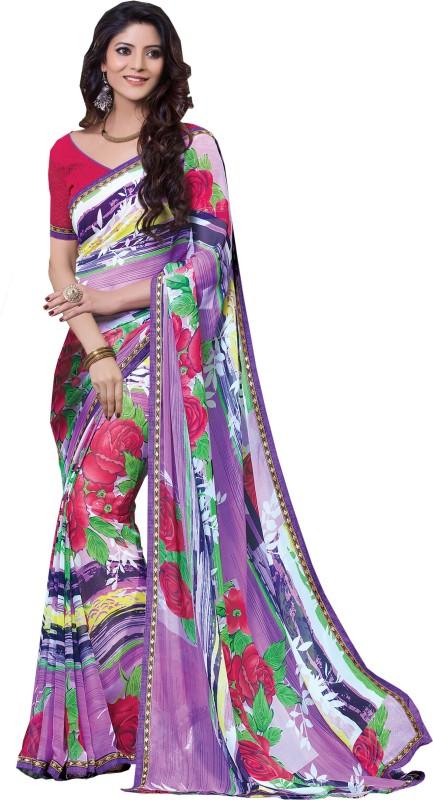 Khushali Self Design, Printed Fashion Georgette Saree(Multicolor)