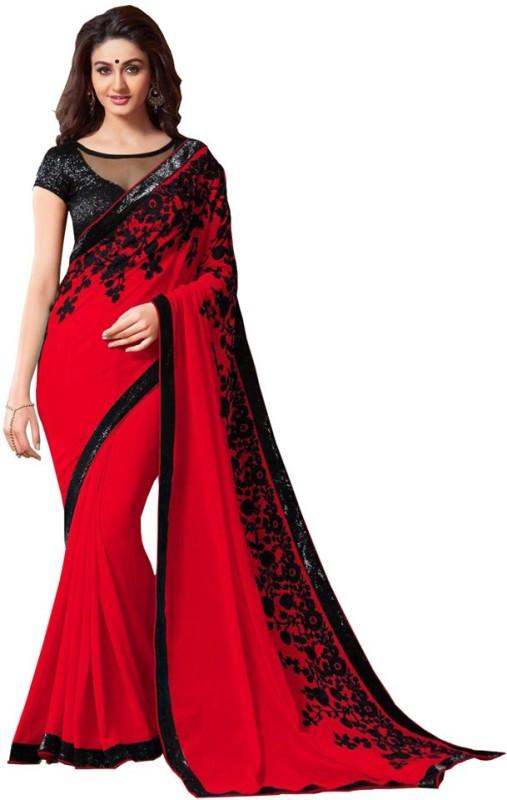 Kiran Saree Self Design Fashion Georgette Saree(Red)