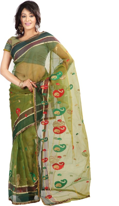 Florence Embroidered Fashion Tissue Saree(Green)