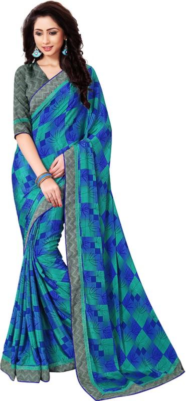 Khushali Self Design, Printed Fashion Crepe Saree(Blue)