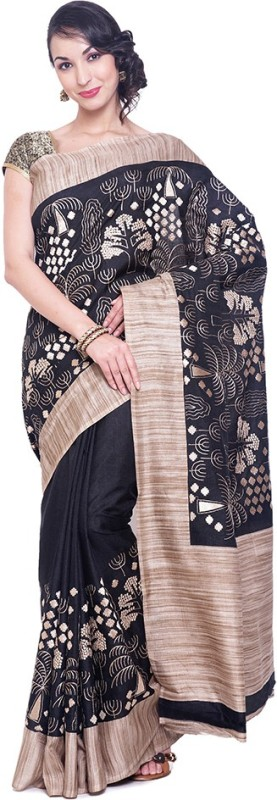 Black Beauty Embroidered Fashion Shimmer Fabric Saree(Black)