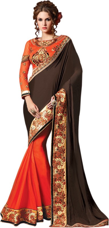 Bhavi Embroidered Fashion Chiffon Saree(Brown, Orange)