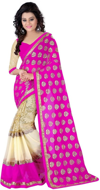 Exclusive Designer Embroidered Fashion Poly Georgette Saree(Pink)
