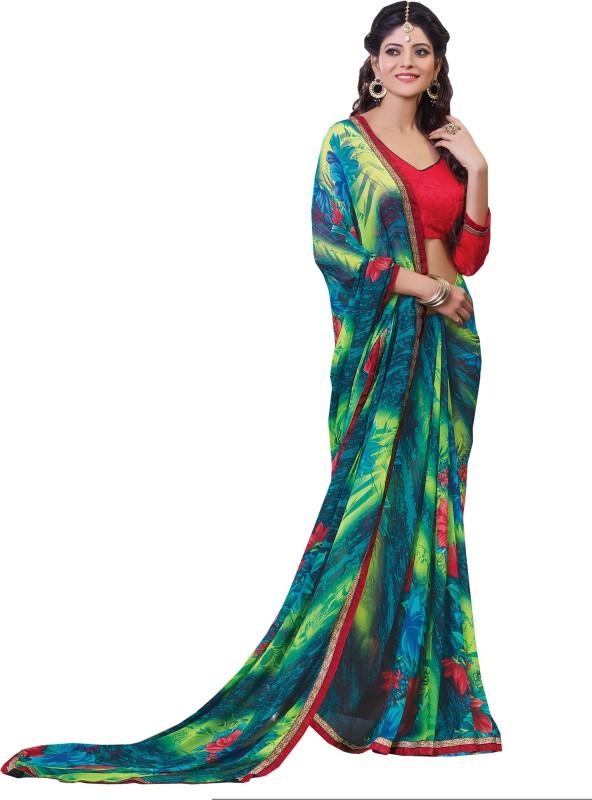 Parisha Printed Fashion Poly Georgette Saree(Green, Blue)
