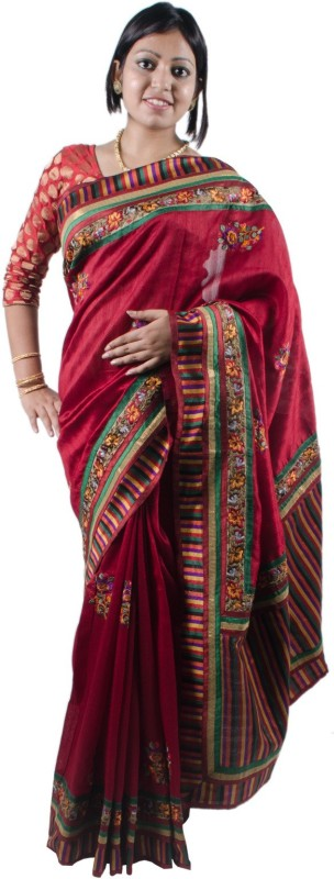 RB Sarees Embroidered Fashion Raw Silk Saree(Red, Maroon, Multicolor)