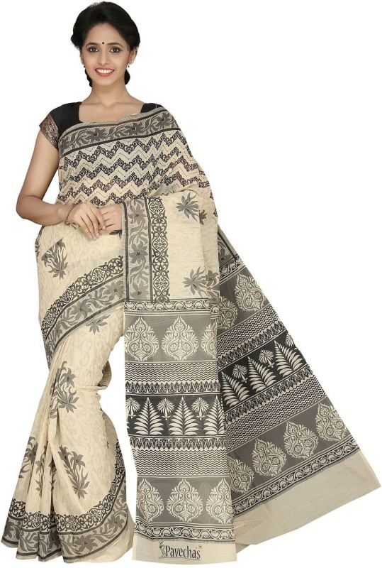 Pavechas Printed Mangalagiri Cotton Saree(Beige)