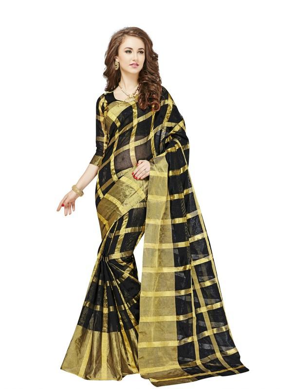 Glory Sarees Checkered Kanjivaram Handloom Cotton, Banarasi Silk Saree(Black, Gold)