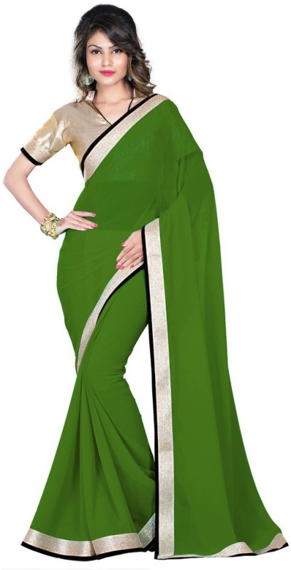 Desi Butik Printed Fashion Poly Georgette Saree(Green)