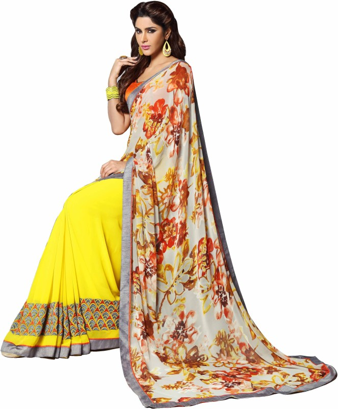 Shaily Printed Chanderi Georgette Saree(Yellow)