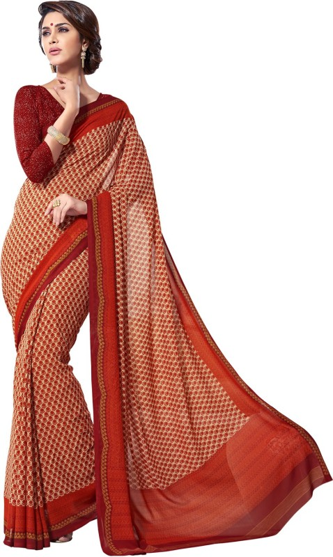 Jiya Self Design, Printed Fashion Poly Georgette Saree(Orange, Beige)