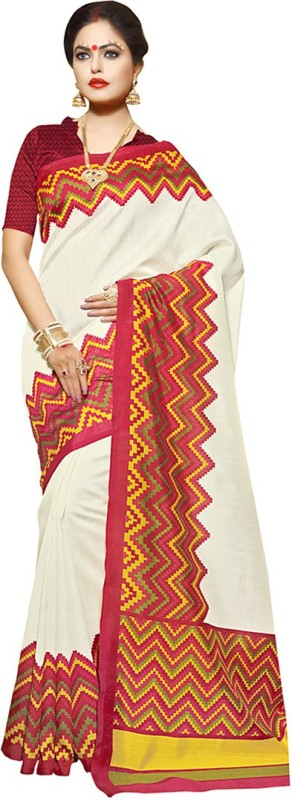 Ayka Printed Fashion Art Silk Saree(Beige)