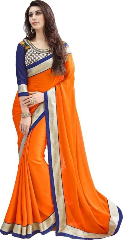 Bollywood Designer Embroidered Fashion Georgette Saree(Orange)