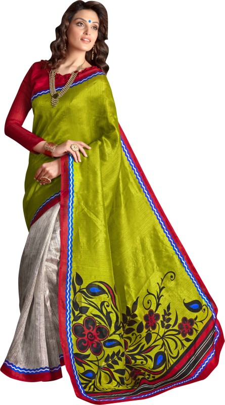 Khushali Self Design, Printed Fashion Art Silk Saree(Grey)