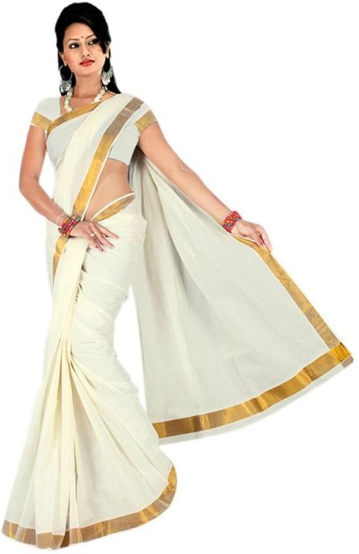 Kjs Solid Fashion Handloom Cotton Saree(Beige, Gold)