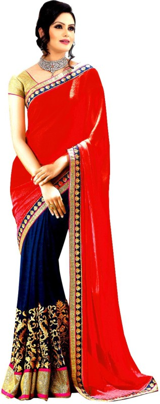 Winza Designer Self Design, Embroidered, Embellished, Solid Bollywood Poly Georgette Saree(Multicolor, Dark Blue, Red, Gold, Pink)