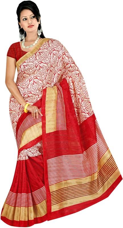 Winza Printed, Self Design Bhagalpuri Art Silk, Cotton, Silk Saree(Red, Beige, Multicolor)
